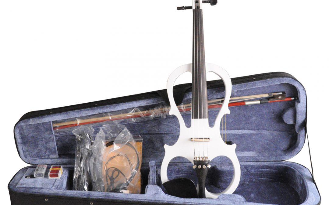 Aileen 4/4 White Electric Violin VE008B, Include FOAMED CASE + BOW + HEADPHONE + ROSIN
