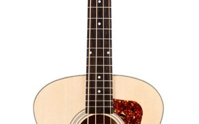 Guild Guitars Jumbo Jr Bass Flame Maple Acoustic Bass, Antique Blonde, Arched back Solid Sitka Spruce Top