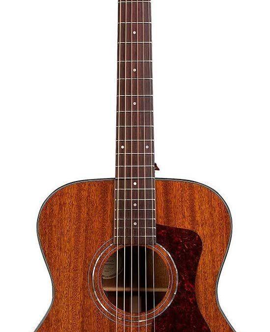Guild OM-120 Acoustic Guitar – Natural – All Solid Mahogany top, back/sides – with Premium Gig Bag
